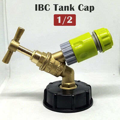 """IBC Tank Cap with Brass Tap & 1/2"""" Snap On Connector, Water Butt, Fuel Storage"""