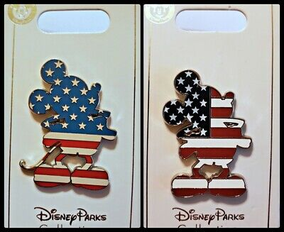 Disney Parks 2 Pin lot Mickey Mouse USA Flag full body 2 versions - NEW !!!