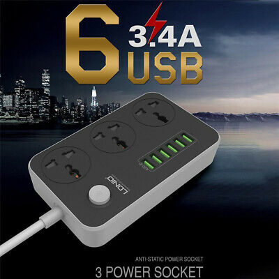 UK Plug 3 Gang Socket 6 USB Port Power Extension Lead Cable Socket Switch Black