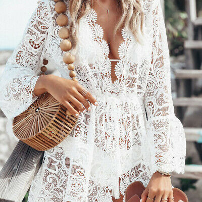 0887b35973 Women Lace Floral Boho Long Kimono Maxi Summer Dress Bikini Cover Up Beach  Dress