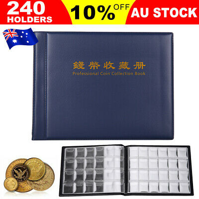 AU 240 Coin Collection Holder Storage Money Penny Pocket Album Folder Case Book