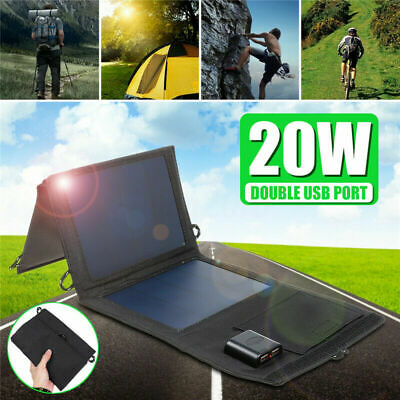 20W Dual USB Solar Panel Foldable Power Bank Panel Camping Hiking Phone Charger