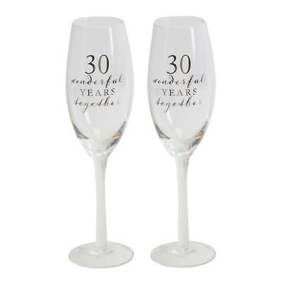 30th Pearl Pair of Champagne Glass Set Of 2 Anniversary Gift WG66530