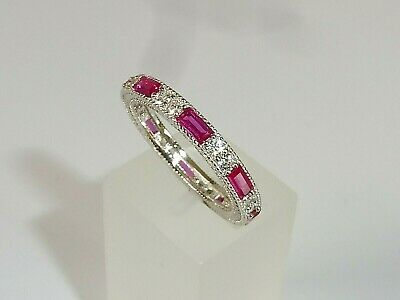 Ladies Art Deco Style 925 Sterling Silver Sapphire & Red Ruby Full Eternity Ring