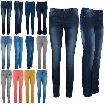 Womens Ladies Faded Denim Skinny Slim Fit Pockets Trousers StretchyPants Jeans