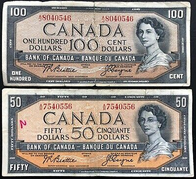 1954 Bank of Canada $50 Fifty & $100 Hundred Dollar Banknotes