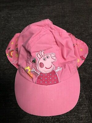 59bd1d2c Girls Aged 3-6 Years Mothercare Pink Peppa Pig Sun Hat Sunhat Neck Cover VGC
