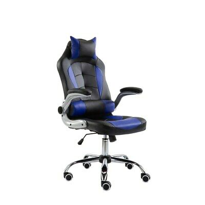 Luxury Racing Gaming Computer Office Chair PU Leather - Blue / Black, 719B#