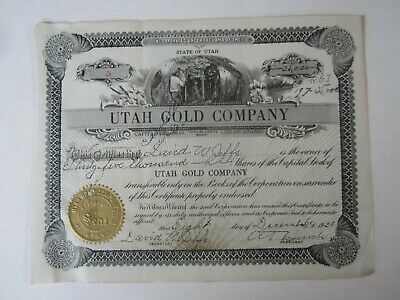 Old 1938 - UTAH GOLD COMPANY - MINING - Stock Certificate