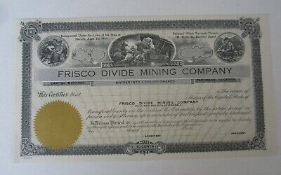 Old 1910's FRISCO DIVIDE MINING CO. - Stock Certificate - TONOPAH NEVADA