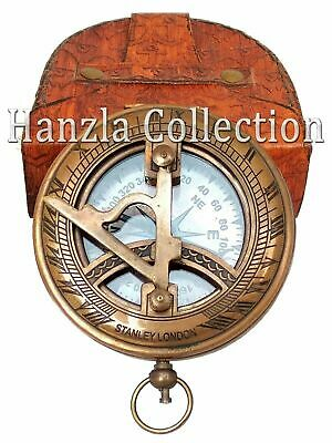 """3"""" Nautical Antique Brass Pocket Sundial Push Button Compass With Leather Case"""