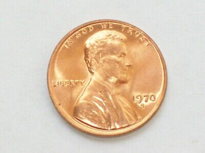 1970 - S LINCOLN MEMORIAL CENT COIN BU ~ from OBW ROLL