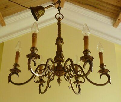 Antique Brass Chandelier French Rococo Ceiling Light 1940s Rewired ready to hang