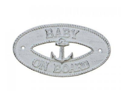 """Whitewashed Cast Iron Baby on Board with Anchor Sign 8"""" - Nautical Decor"""