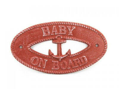 """Red Whitewashed Cast Iron Baby on Board with Anchor Sign 8"""" - Nautical Decor"""