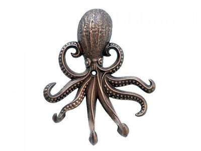 """Antique Copper Wall Mounted Octopus Hooks 7"""" - Nautical Decor"""