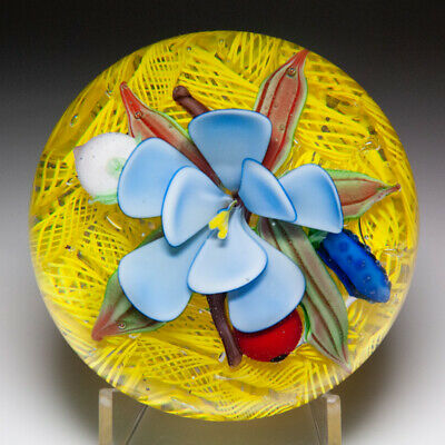 Chinese blue flower and red pear on yellow upset muslin glass paperweight
