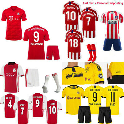 NEW 19-20 Football Jersey Soccer Short Sleeve Kits Adult Kids Team Club Suits