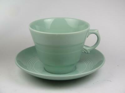 """VINTAGE REPLACEMENT CHINA Wood's Ware Coffee Cup & Saucer (Green) """"Beryl"""" 1940s"""
