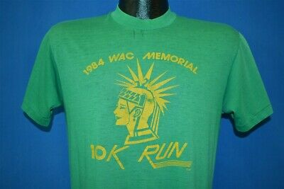 1b253955 vtg 80s WAC MEMORIAL 10K RUN 1984 GREEN DISTRESSED SOFT THIN t-shirt MEDIUM  M