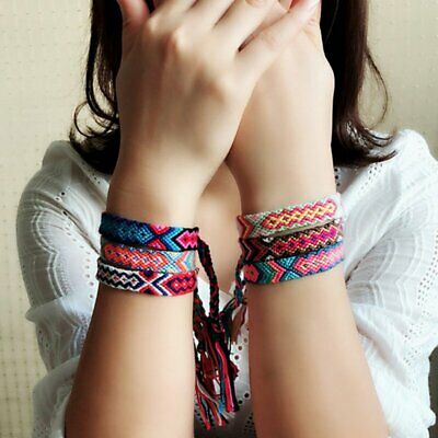 Boho Ethnic Handmade Multicolor String Cord Woven Braided Friendship Bracelet