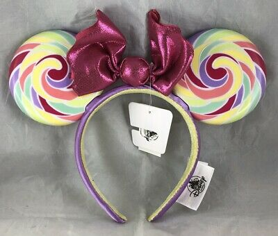 Disney Parks Minnie Mouse Ears Lollipop Candy Plastic Headband Bow Hat - NEW