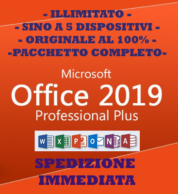 Microsoft Office 2019 ✔ 365 Pro Plus  ✔ A Vita ✔ Originale ✔ Completo ✔ Italiano