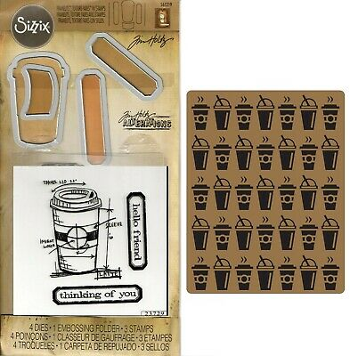 Tim Holtz Sizzix Framelits Dies & Stamps & Embossing Folder - Coffee Time, Cup