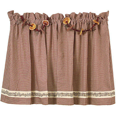 """Burgundy Berry Vine Wine Check Unlined Curtain Tiers, 24"""" 30"""" 36"""" Lengths"""