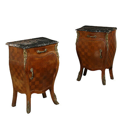Pair of Revival Nightstands Mahogany Italy 20th Century