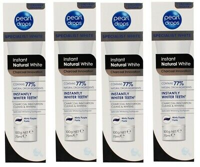 3 x PEARL DROPS 100g TOOTHPASTE INSTANT NATURAL WHITE CHARCOAL INNOVATION NEW