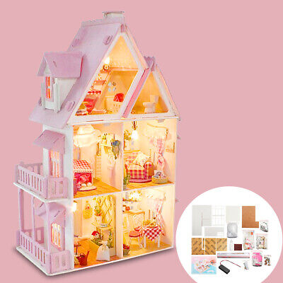Wooden DIY Doll House The Furniture Dolls Dollhouse Miniature Kit Kids Gift AU