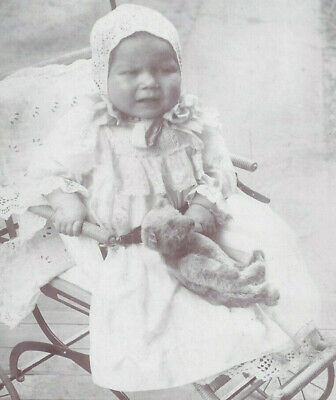 1890s CABINET CARD PHOTO CLEVELAND OH UPSET BABY IN WICKER STROLLER W/TEDDY BEAR
