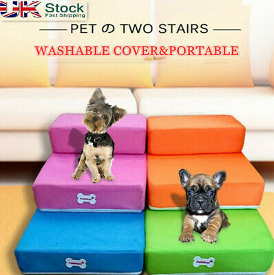 2 Steps Folding Portable Dog Cat Pet Stairs Ramp Ladder Cover Sofa Bed Indoor le