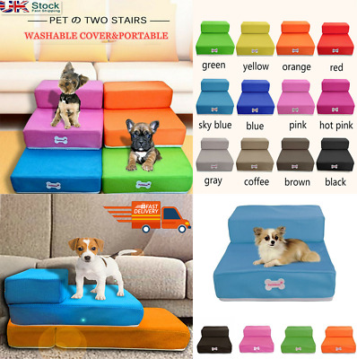 Indoor Sofa Car Dog Help Stairs 2 Steps Foldable Lightweight Puppy Pet Ladder le