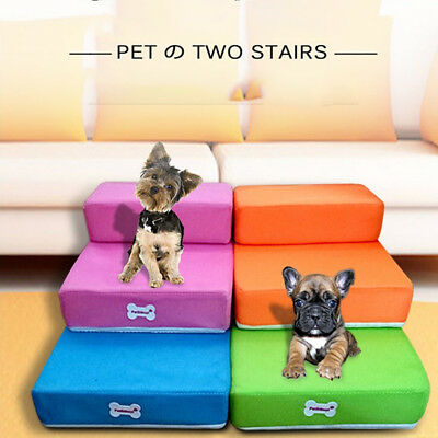 New Pet Ladder 2 Steps Soft Stairs Puppy Washable Doggy Cover Ramp Foldable le