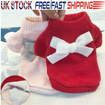 UK STOCK Fashion Knitted Puppy Dog Jumper Sweater Pet Clothes For Small Dog Coat