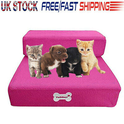 Hot Pink 2 Steps Portable Dog Puppy Pet Soft Stairs Ramp&Washable Cover UK STOCK