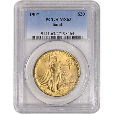 1907 US Gold $20 Saint-Gaudens Double Eagle - PCGS MS63