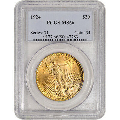1924 US Gold $20 Saint-Gaudens Double Eagle - PCGS MS66