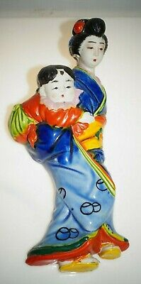 Vintage Banko Ware Japanese Pottery Mother Child Baby Wall Pocket Vase 10""