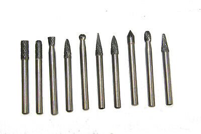 Rdg Industrial Quality Carbide Burr Set 10Pc 6Mm Shank Double Cut Rotary Tools