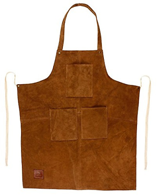 Rustic Town Genuine Leather Grill Work Apron with Tool Pockets ~ Adjustable up &