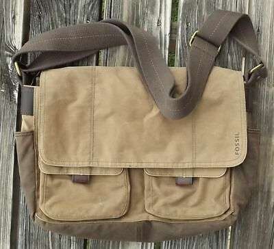 e293da87c Fossill Brown/Tan Canvas Travel Laptop Messenger Bag w/ Lots of Pockets &  Space