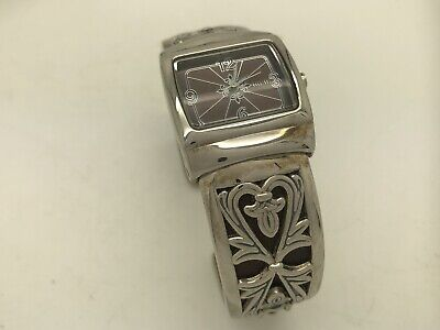 Ecclissi Sterling Silver Hinged Cuff Filigree Ladies Watch Leather 46.7g 33050