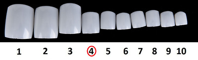 5 Pack Of Size 4 Natural Acrylic False Toe Nails Full Extension Tips Beauty