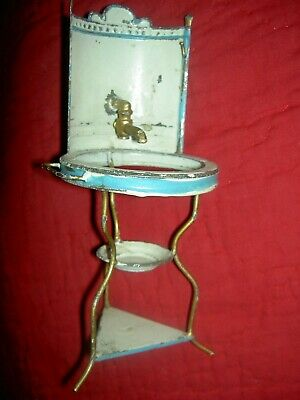 Wonderful antique, French or German, miniature metal doll size wash stand
