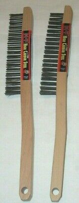 2 KT Industries 5-2222HC V-Groove HIgh Carbon Steel Long Handle Wire Brushes