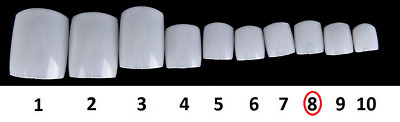 15 Pack Of Size 8 Natural Acrylic False Toe Nails Full Extension Tips Beauty