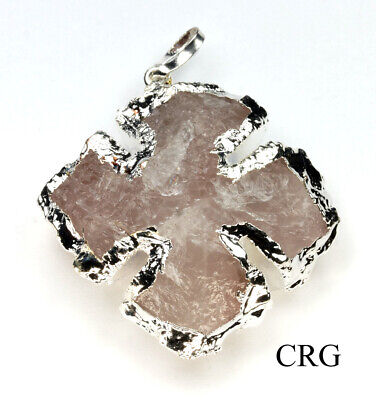 "Silver Plated Rose Quartz Cross Pendant 1"" - Small (CR24DG)"